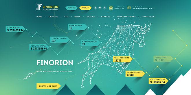 FINORION — Обзор и отзывы проекта с доходностью от 104% в сутки finorion.biz